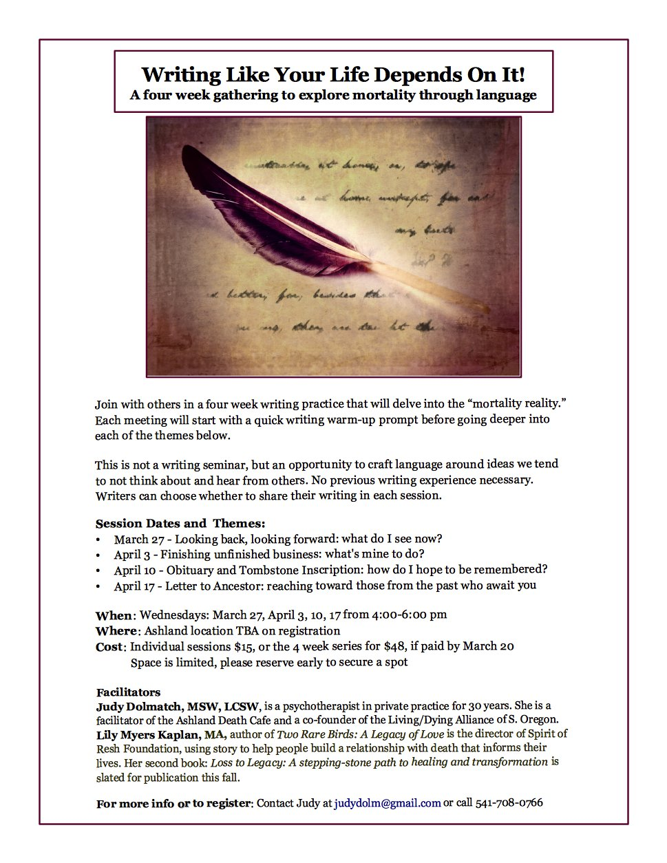 FINAL LDA WRITING YOUR LIFE Flyer