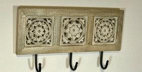 60053 Carved Wood 3 Hook Wall Rack