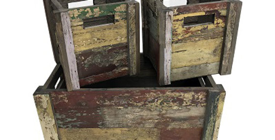 Set of 3 Reclaimed Wood Planters