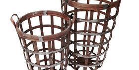 10190 Set of 2 Bamboo Deep Round Basket
