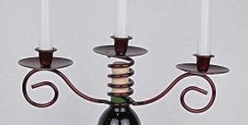 88059 Wine Bottle Triple Taper Candle Holder-Merlot-2805