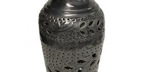 69016 Pierced Vine-Design Antique Pewter Vase