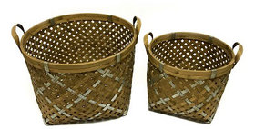 10246 Set of 2 Diagonal Weave Round Basket