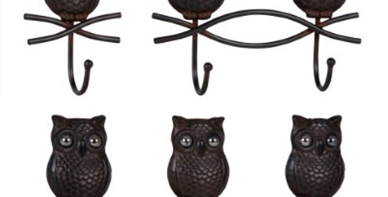 WALL HOOKS S/3 (OWL) MTL