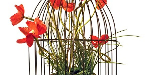 89046 Rose Design Bird Cage with Hook-Textured Bronze-19