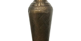 52001 Large Cross Weave Vase-Ant Brass