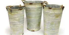 10409 Set of 3 Corrugated Tin Flower Buckets-sc
