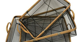 10238 Set of 3 Rectangle Herb Drying Wire Basket/Bamboo
