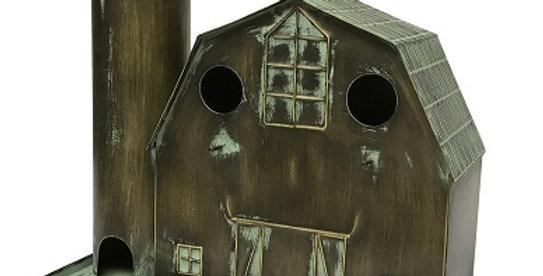 Metal Barn-Silo Birdhouse-Bronze Washed