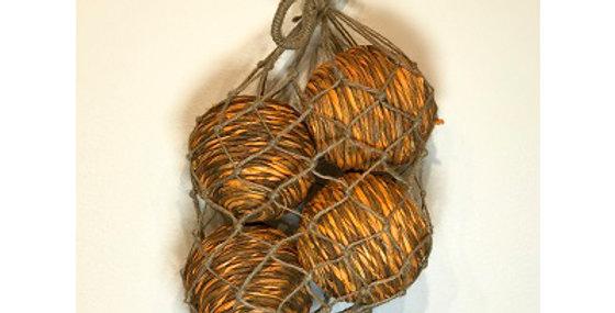 4 Shola Rope Ball 4in Tangerine in Jute Bag