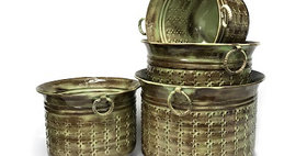 69028 Set of 4 Embossed Stitch Weave Planters