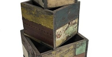 Set of 3 Reclaimed Wood Square Planters
