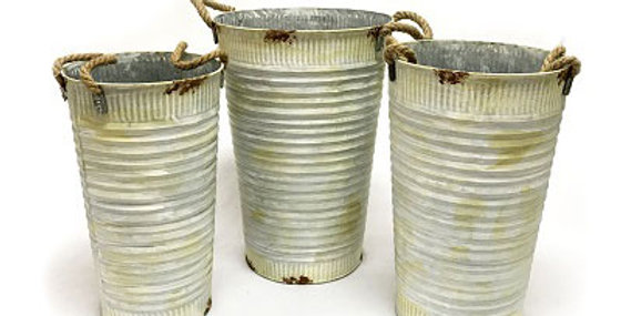 Set of 3 Corrugated Tin Flower Buckets-sc