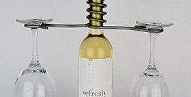 89075 Wine Bottle Two Stem Candle Holder-Pewter-29075