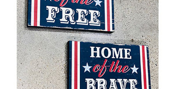 Set of 2 Land of the Free, Home of the Brave Wall