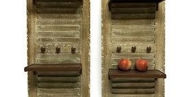 10236 S/2 Shutters w/Shelves and Knobs - Weathered