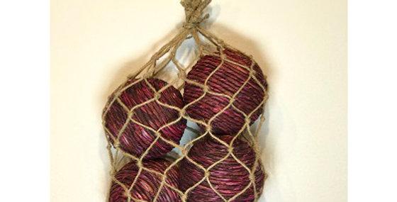 4 Shola Rope Ball 4in Wine in Jute Bag
