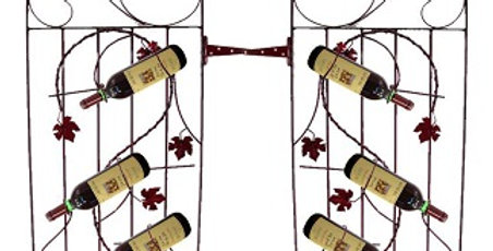 Two Assorted 4 Bottle Grapevine Wine Gates-Meteor-