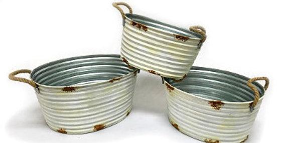 Set of 3 Oval Harvest Buckets-sc