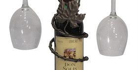 81596 Grapevine Wine Bottle Topper 2 Stem Holder-Meteor-