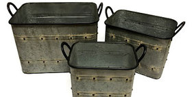 10279 Set of 3 Metal Rectangle Log Basket