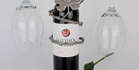 89596 Grapevine Wine Bottle Topper 2 Stem Holder-Pewter-