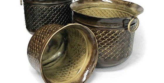 Set of 3 Embossed Weave Planters