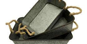 10287 Set of 3 Metal Rectangle Rope Handled Trays