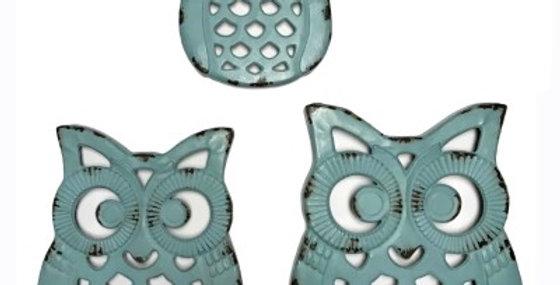 WALL DECOR(OWL)S/3-METAL