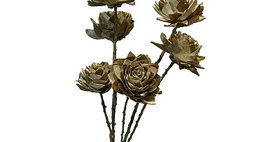 41097 6 Water Lily on 24in Stem Brushed Gold