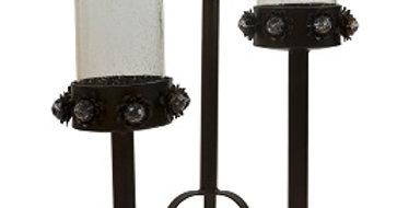 Set of Three Rose Design Candle Trays-Textured Bro