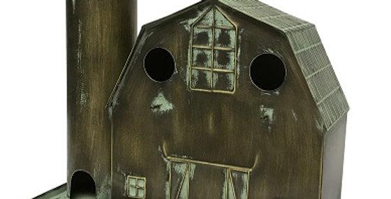 50033 Metal Barn-Silo Birdhouse-Bronze Washed