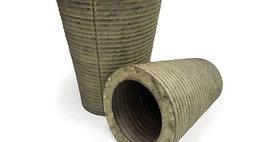 70009 Set of 2 Vintage Ribbed Vase