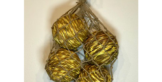 4 Shola Rope Ball 4in Sunkist in Jute Bag