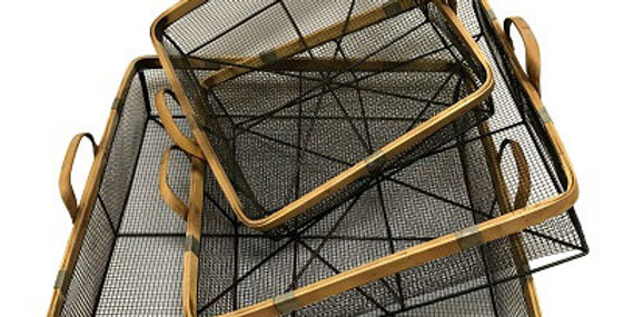 10237 Set of 3 Square Herb Drying Wire Basket/Bamboo Han