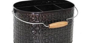 66005 Basket Weave Glossy Bronze Oval Utensil Caddy