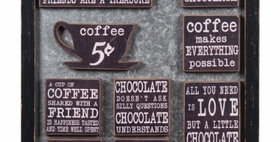 694878 COFFEE WALL W/9 MAGNETS