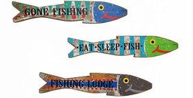 30002 Set of 3 Wood Wall Fish