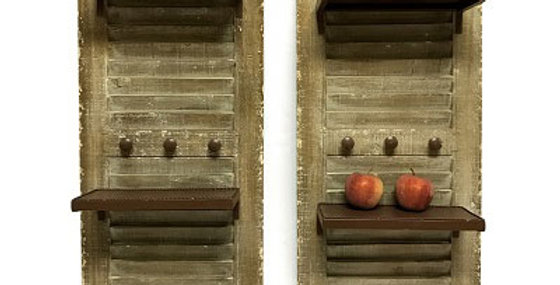 S/2 Shutters w/Shelves and Knobs - Weathered
