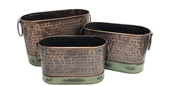 Set of 3 Antique Copper Oval Buckets