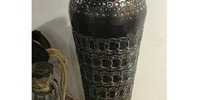 52022 Large Lock Ring Vase-Ant Copper/Turquoise