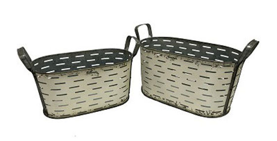 Set of 2 Oval Metal Olive Buckets-Shabby Chic