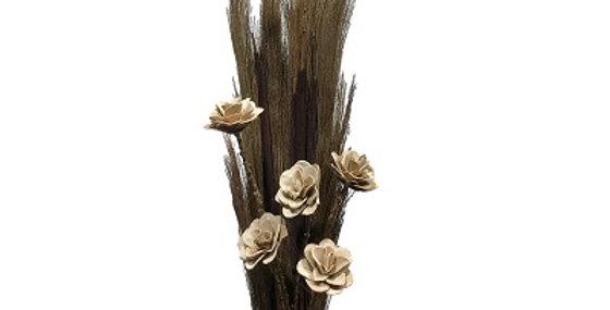 41129 Prairie Grass/Cattails & CREAM Wild Rose Drop-in B