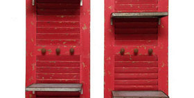 10074 S/2 Shutters w/Shelves and Knobs-Firehouse Red