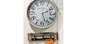 30105 Metal Wall Clock On Rope Hanger