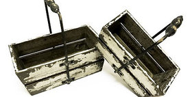 10252 Set of 2 Metal Handled Wood Slat Baskets