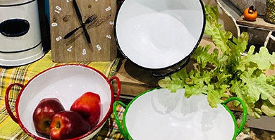Set of 3 White Apple Bowl Metal