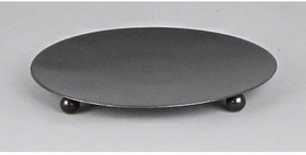 89006 Round 7.5 inch Candle Plate with 3 Feet -Textured