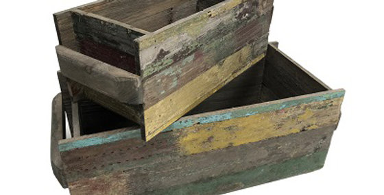 Set of 2 Reclaimed Wood Rectangle Planters