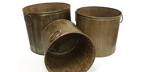69010 Set of 3 Rustic Tree Planters